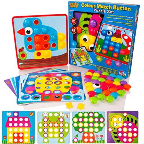 Learning Minds Colour Match Button Art Puzzle Set – Educational Mosaic Picture Pegboard Toy For Kids