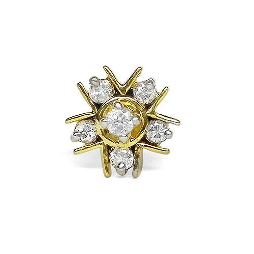 Amazon Designer Women Natural Diamond Gold Hallmark Nose
