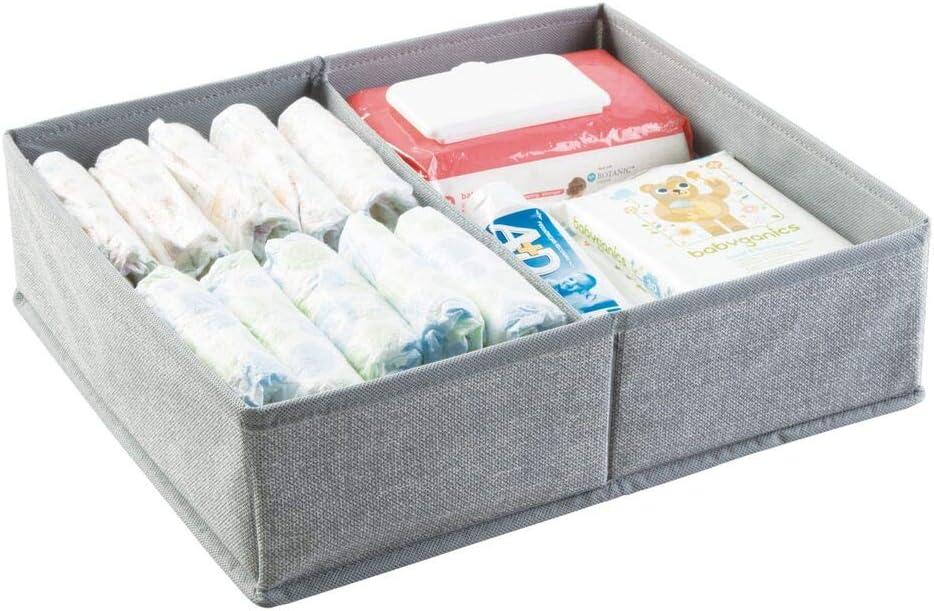 sur la table /à langer mDesign organiseur chambre de b/éb/é lingettes etc convient aussi pour stockage de jouets dans les tiroirs grand panier de rangement /à deux compartiments pour couches gris