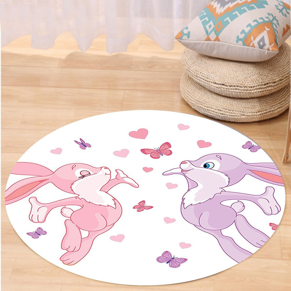 VROSELV Custom carpetValentines Day Butterflies Decoration Bunnies Kissing in Air with Love Hearts and Butterflies Home Decor Bedroom Living Room Dorm 80x60 Pink Purple Round 72 inches