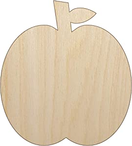 Apple Fruit Unfinished Wood Shape Piece Cutout for DIY Craft Projects - 1/4 Inch Thick - 4.70 Inch Size
