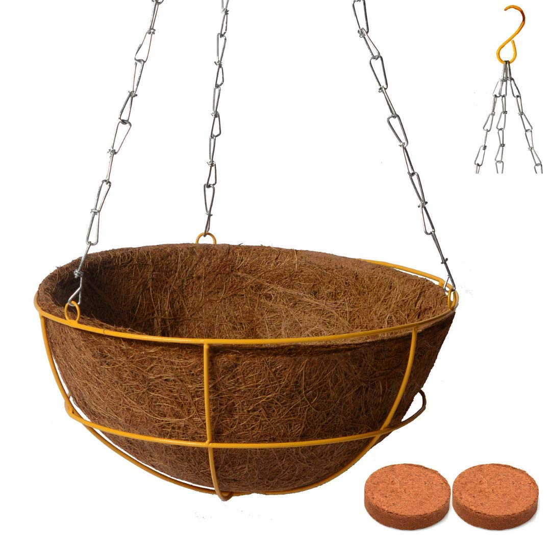 Farmercity Home Garden Hanging Pot Coir Basket Garden Pots For Terrace Garden Balcony Decoration 1 Unit Of 10 Inch Coir Pots Plant Pots Hanging Planters With Yellow Gamla Stand And Chain Amazon In