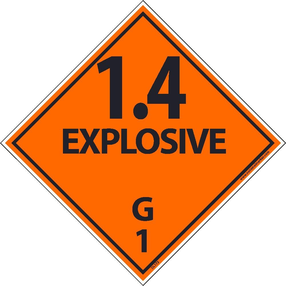 DL172AL National Marker Dot Shipping Label, 1.4 Explosive, G, 1, 4 Inches x 4 Inches, Ps Paper, 500/Roll