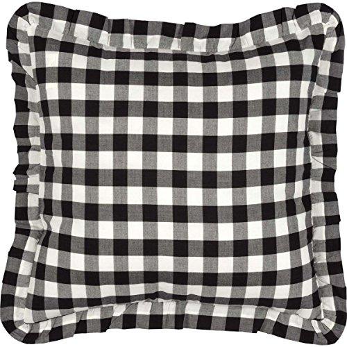 VHC Brands Classic Country Farmhouse Pillows & Throws - Annie Buffalo Check White Fabric 18 x 18 Pillow Black