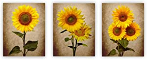 Sunflower Decor Wall Art Posters Set of 3(8