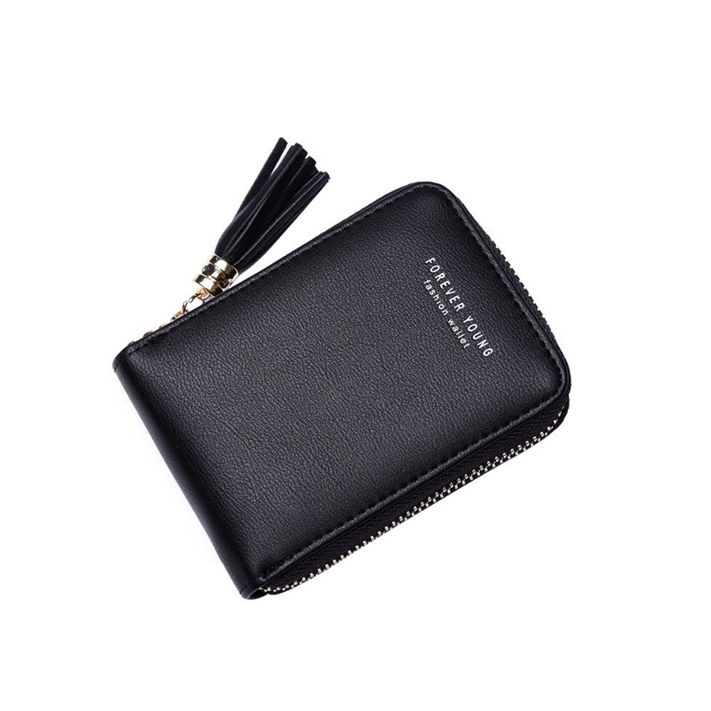GzxtLTX Women Wallet PU Leather Credit Card Holder Zipper Coin Purse Small Accordion with Tassel ID Window
