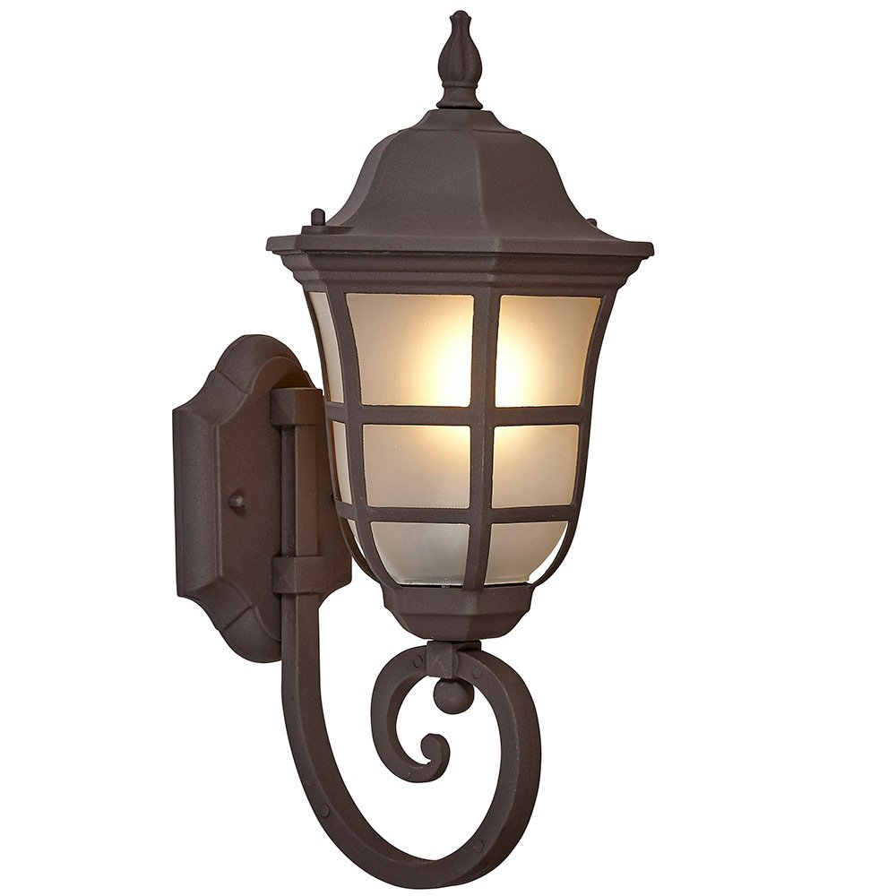 Traditional Gooseneck Upward Outdoor Wall Sconce Light | Classical Matte Bronze Finish with Frosted Glass | Exterior Lighting LED Bulb 2700K Included