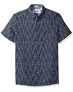 Men's Short Sleeve Printed Linen