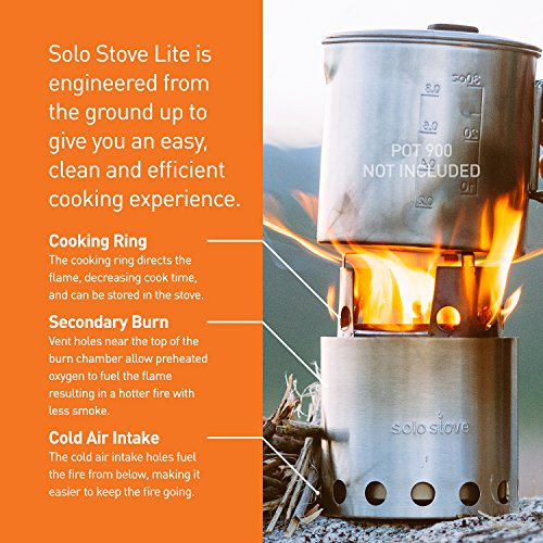 Solo Stove w/ Aluminum Windscreen & Solo Alcohol Burner. Great Wood Burning Ultralight Stove for Camping, Backpacking, Emergency and Survial Preparation. A Bug Out Bag Must-have.