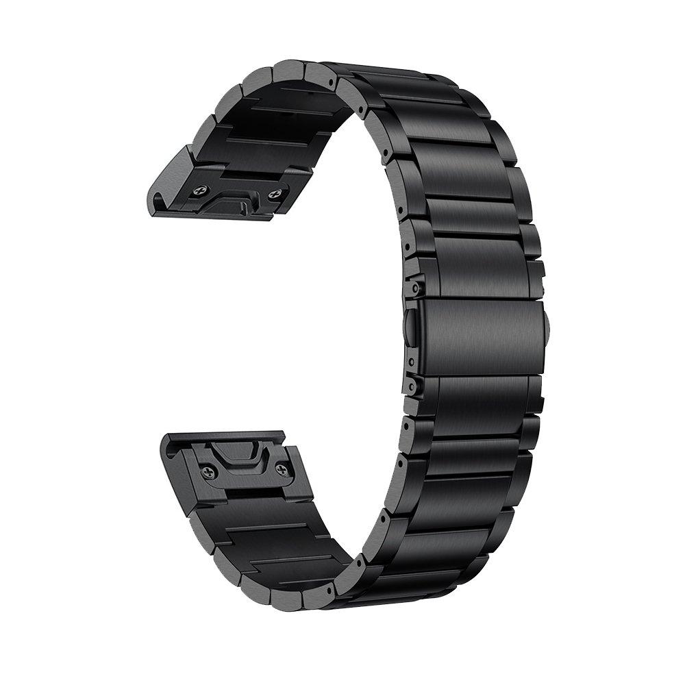 LDFAS Titanium Band Compatible Fenix 6 Pro/5 Plus Band, 22mm Titanium Metal Quick Release Easy Fit Watch Strap Compatible for Garmin Fenix 5 Plus 6 Pro/Forerunner 935/945 Smartwatch, Black Update 61cwoaVbooL