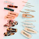 Fashion Hair Clips Set, 20 PCS Pearls Hair Clips Acrylic Resin Hair Barrettes, Hollow Geometric Hair Clip Hairpins for Women Girls and Ladies Headwear Styling Tools