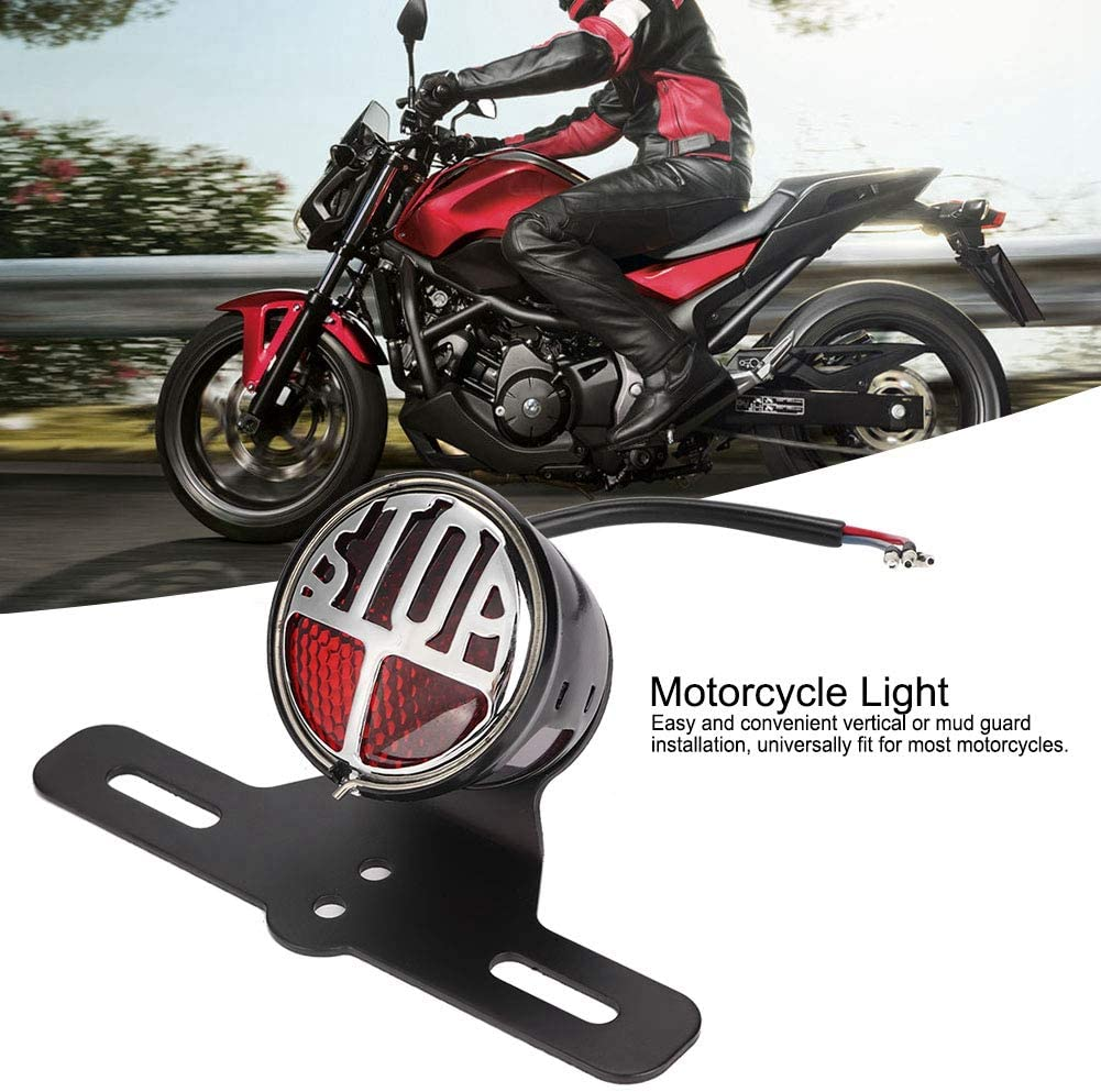 Motorcycle Tail Light,Universal Vintage Motorcycle LED Light Tail Brake Light Stop Lamp With License Plate Bracket