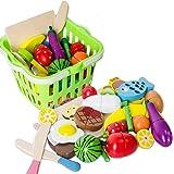 Toudorp 22点セット 木製 おままごと 磁石式 食材 果物 食べ物 切る遊び おままごとセット 収納バスケット付き 知育玩具 プレゼント