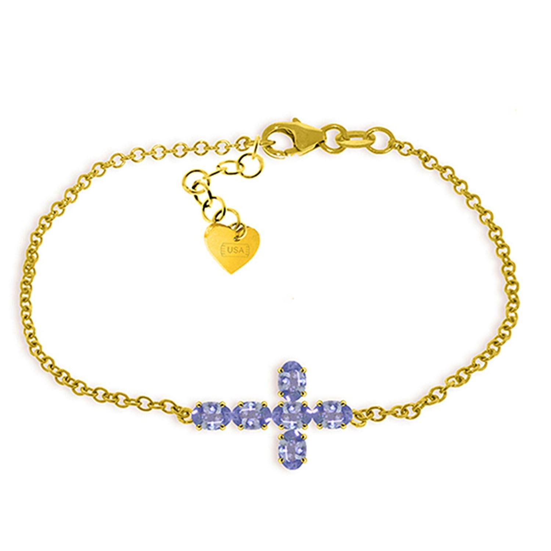 ALARRI 1.7 CTW 14K Solid Gold Cross Bracelet Natural Tanzanite Size 8.5 Inch Length