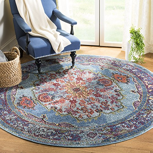 Safavieh Harmony Collection HMY402A Blue and Purple Round Area Rug (7' in Diameter)