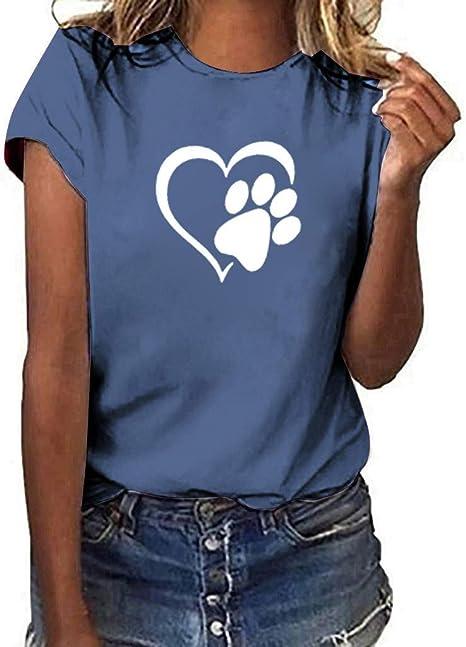 Keepwin ¡Nueva!Mujer Manga Corta Gatos Camiseta Estampado de