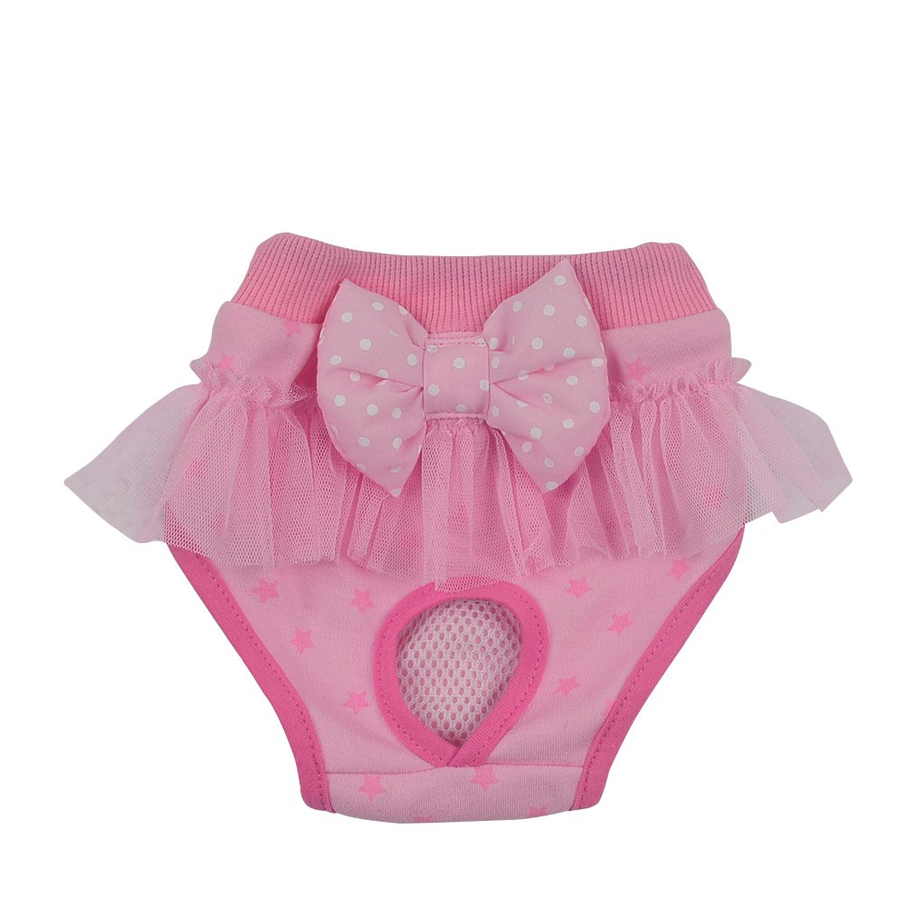 Tutuba Pet Dog Diaper Small Dog Star Print Lace Ruffle Elastic Waist Physiological Pants Underwear (S, Pink)