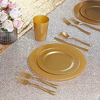 Disposable Dinnerware Set Includes 36 Dessert 180pcs Gold Plastic Plates with Gold Glitter Silverware 36 Dinner Plates 10.25