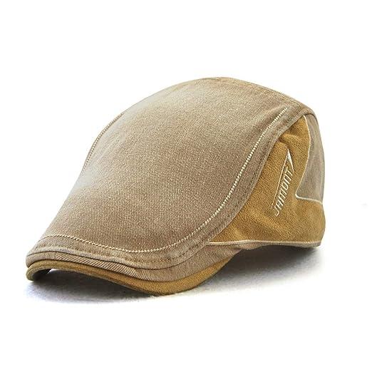 bd95b2c2312 M MOACC Men Newsboy Hats Cotton Cap Beret Buckle Adjustable Cabbie Driving  Hunting Hat