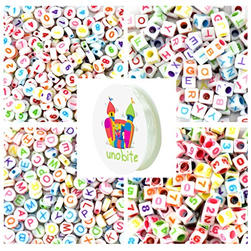 Unobite 1000 Pieces Alphabet and Numbers Beads, 4 Style Round and Square Shape, A-Z Letters and 0-9 Beads for Jewelry Making, Bracelets, Necklaces, Key Chains with 1 Roll Elastic Beading Cord