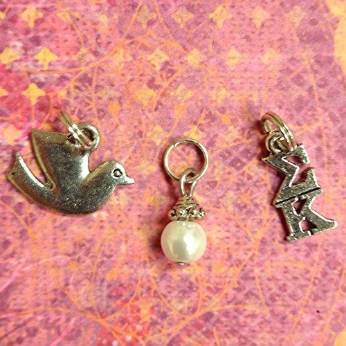Dove Glass (Sorority Greek Sigma Kappa Essential Trio of Charms - lavaliere, dove mascot, white glass pearl dangle)