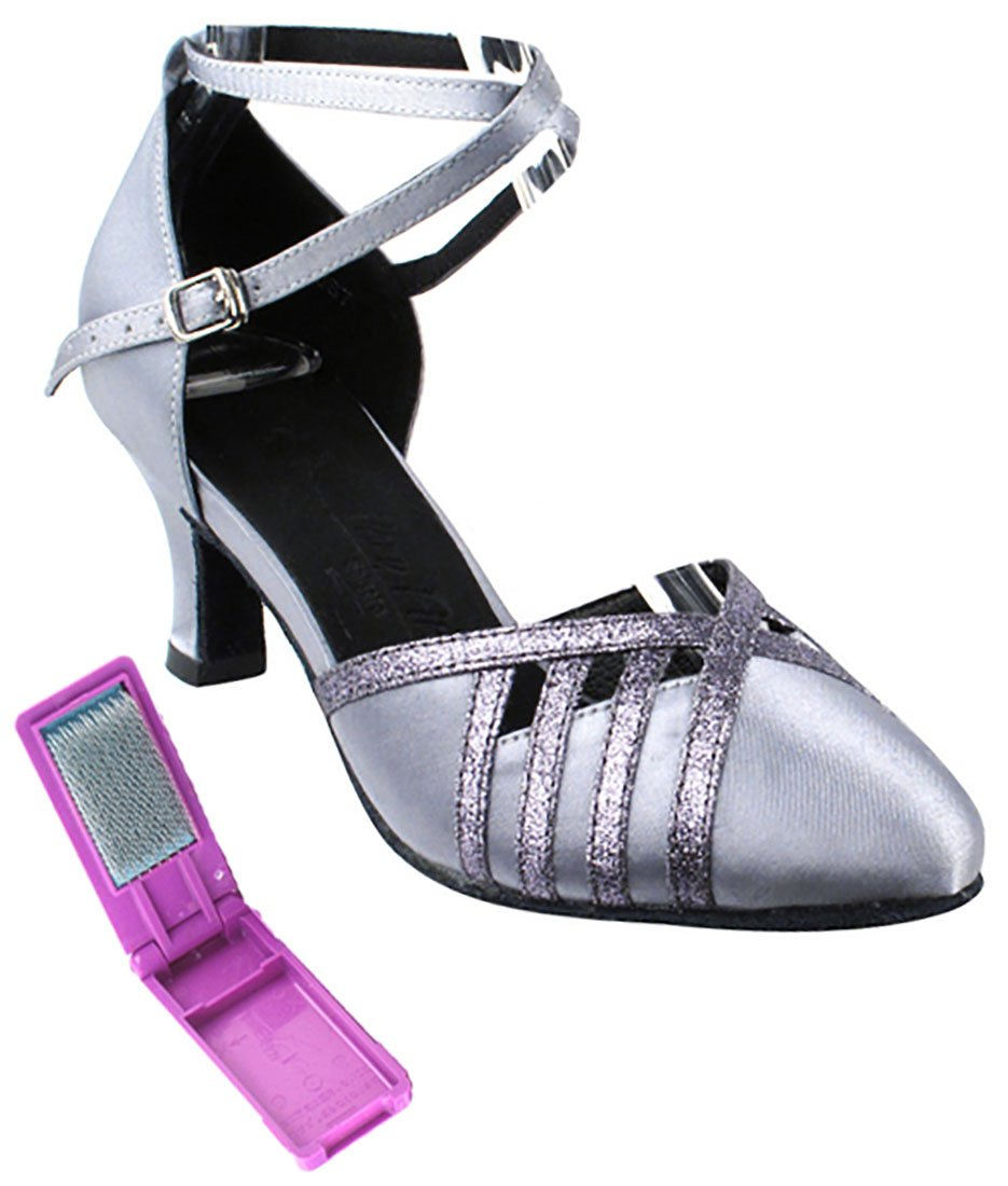 Very Fine Ballroom Latin Tango Salsa Dance Shoes for Women SERA3530 2.5 inch Heel + Foldable Brush Bundle - Grey Satin & Grey Stardust Trim - 7.5