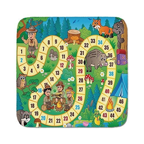 Cozy Seat Protector Pads Cushion Area Rug,Board Game,Camping Boys and Girls in Nature Forest Animals Trees Mushrooms Daisies Fun Joy Decorative,Multicolor,Easy to Use on Any - Butt For Boys Games