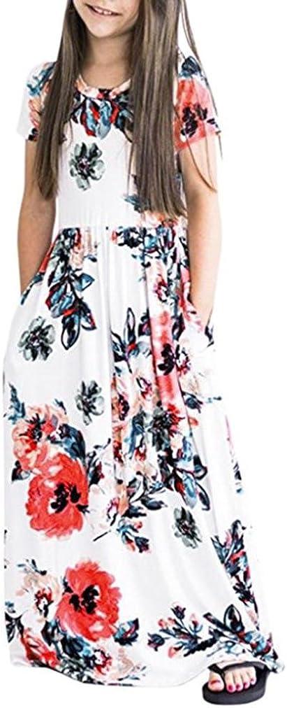 WensLTD Girls Floral Flared Pocket Maxi Three-Quarter Sleeves Long Maxi Princess Party Dress