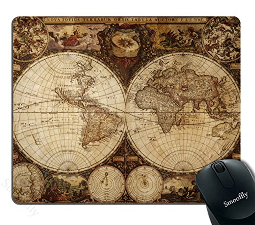 Historical World Map - Smooffly Vintage World Map Mouse pad , Image of Old Map in 1720s Nostalgic Style Art Historical Atlas Mouse Pad,Brown Beige