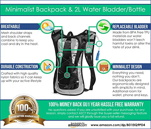 Hydration Pack Ultra Lightweight! Minimalist Backpack and 2L Water Bladder/Bottle. Perfect for Camping, Hiking, Running, Cycling, Fishing, Hunting, Fun/Mud Run. 1 Year Hassle Free Warranty.