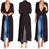 Women's Long Sleeve Chiffon Light Weight Maxi Sheer Duster Cardigans Summer Spring Coat