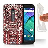 STUFF4 Gel TPU Phone Case / Cover for Motorola Moto X Play 2015 / Elephant-Red Design / Aztec Animal Design Collection