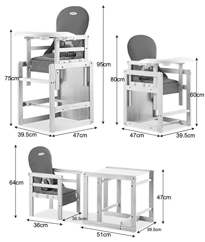 arn/és de 3 Puntos Trona Bebe Silla de beb/é de Madera Color : Style 1 3 en 1 Juego de sillas de Mesa Convertibles Asiento Elevador con Bandeja de alimentaci/ón extra/íble Soporta 65 kg
