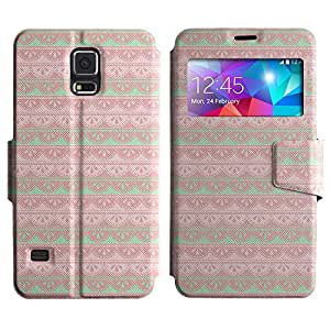 AADes Scratchproof PU Leather Flip Stand Case Samsung Galaxy S5 V SM-G900 ( Pink And Girly )