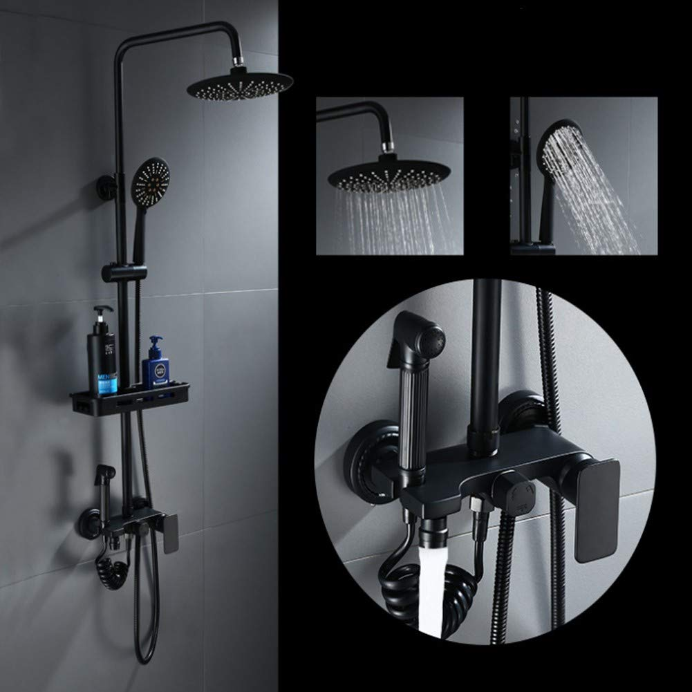 YYBFG Shower Set Four Speed Booster Nozzle Full Copper Inlaid Gold Antique Black