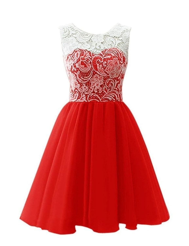 Bess Bridal Women's Short Lace Chiffon Prom Homecoming Dresses 2017