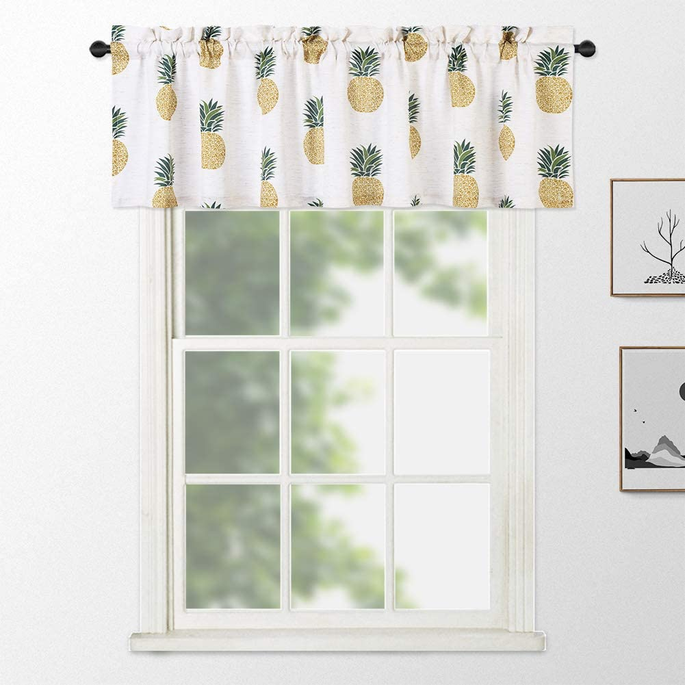 NANAN Kitchen Curtains Valance for Windows,Pineapple Print Waterproof Valance for Bathroom Rod Pocket Cafe Curtains White 60 x 15, Yellow/Pineapple, One Panel