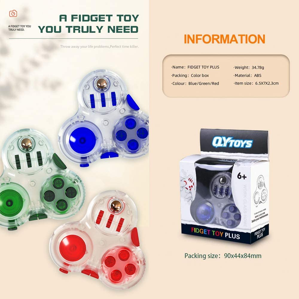 Premium Quality Fidget Toy-used to relieve stress Little Golden Elephant Fidget Controller Pad Cube ADHD autistic children and adults to kill time. an anti-anxiety hand toy for ADD Blue