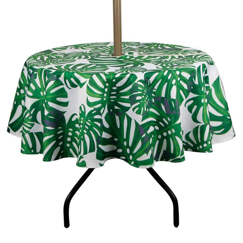 Wood.L Garden Table Cloth Round with Parasol Hole and Zipper Waterproof Tablecloth with Umbrella Hole Table Cover for Outdoor Round Tables Patio Coffee/Shop Refined
