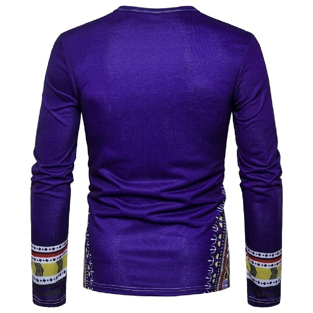 Doufine Men's Tops Spell Color Dashiki African Print Folk Style T-shirts Navy Blue M by Doufine--men clothes (Image #3)