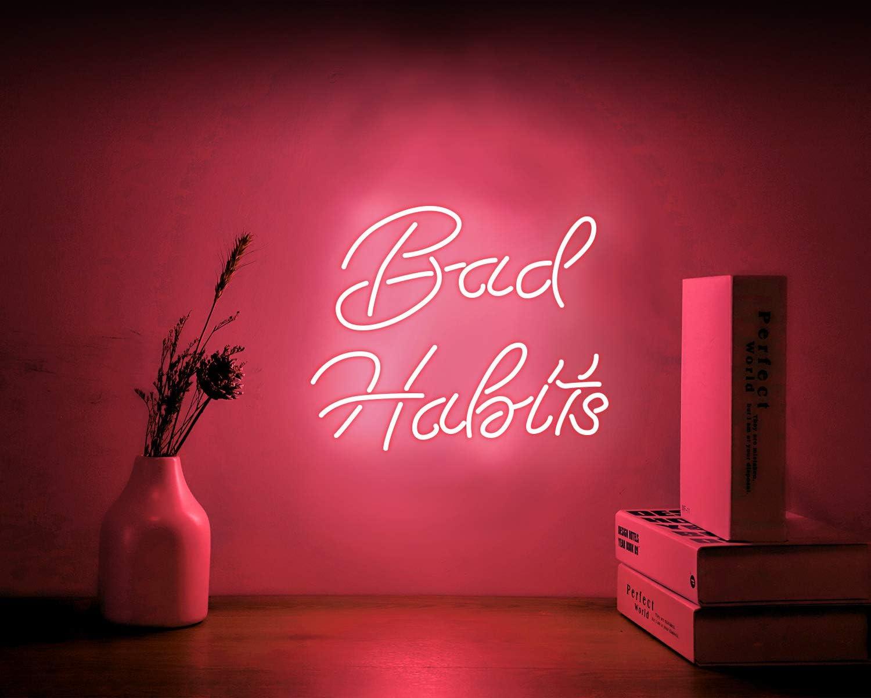Neon Signs Bad Habits Pink Neon Sign, Hanging Neon Light Sign, Neon Wall Sign, Neon Girls Sign Neon Words for Teens Wall Bedroom Room Decor