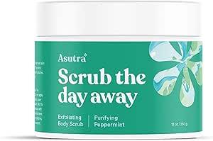 ASUTRA Dead Sea Salt Body Scrub Exfoliator (Purifying Peppermint), 12 oz   Ultra Hydrating, Gentle, & Moisturizing   All Natural & Organic Jojoba, Sweet Almond, & Argan Oils