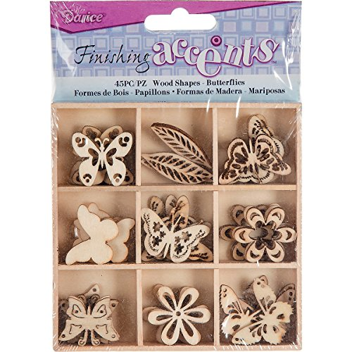 Finishing Accents 23461 45 Piece Butterfly Theme Mini Laser Cuts Wood Shapes, -