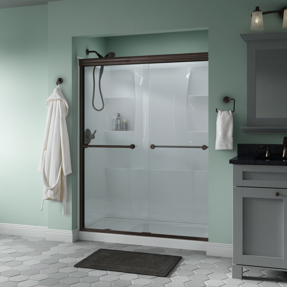 Delta Shower Doors SD3172325 Trinsic 60'' x 70'' Semi-Frameless Traditional Sliding Shower Door in Bronze with Clear Glass by Delta Shower Doors