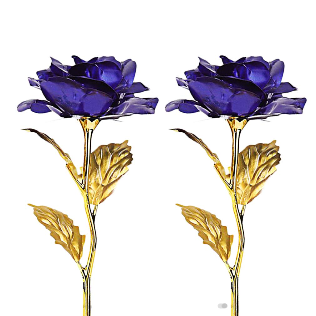 GL-Turelifes 4K Gold Foil Artificial Forever Rose Flower for Wife Lover Women Girlfriend for Mothers Day,Birthday, Blue