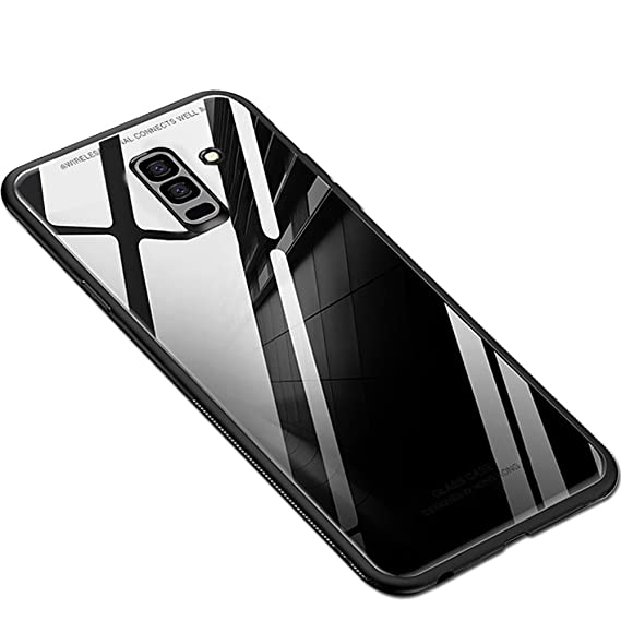 brand new 53244 d48e8 TheGiftKart Luxurious Toughened Glass Back Case with Shockproof TPU Bumper  Back Case Cover for Samsung Galaxy A6 Plus (Black)