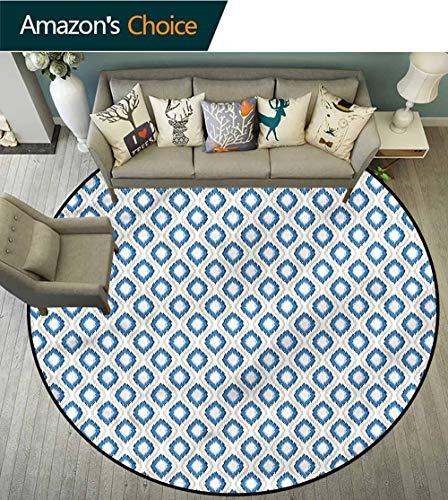 - RUGSMAT Ikat Non-Slip Area Rug Pad Round,Japanese Kimono Motifs Baby Room Decor Round Carpets Round-35