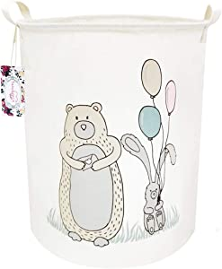 "TIBAOLOVER 19.7"" Large Sized Waterproof Foldable Canvas Laundry Hamper Bucket with Handles for Storage Bin,Kids Room,Home Organizer,Nursery Storage,Baby Hamper (Bear&Balloon)"