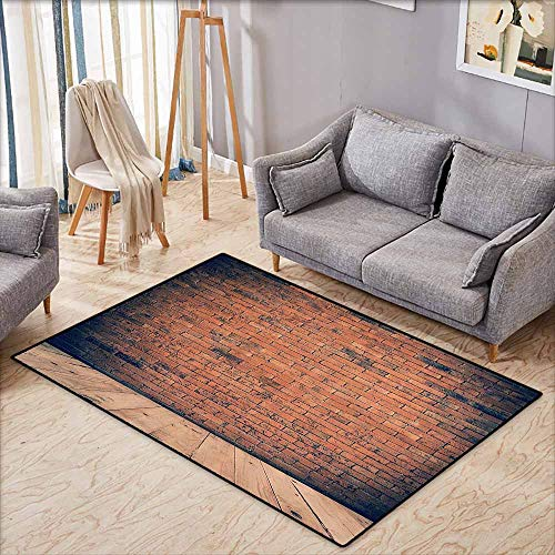 Indoor/Outdoor Rug,Vintage Decor Collection,Old Fashioned Bricks in Dark Room with Antique Wood Floor Vintage Ancient Retro Room Decor,Anti-Static, Water-Repellent Rugs,4'11