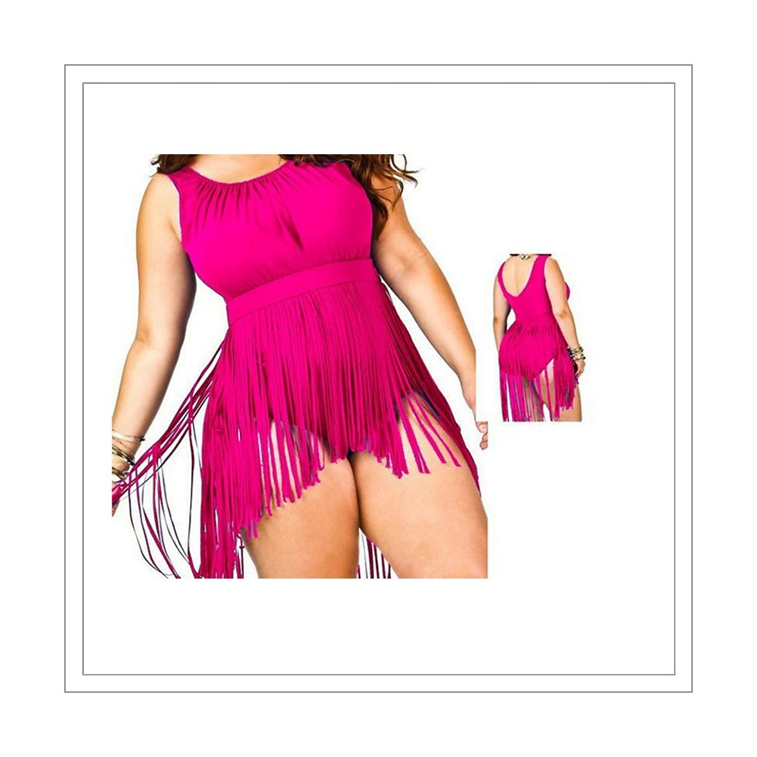 Womens Tassels Bikini One Piece Retro Plus Size Swimsuit Swimwear Rose Red, Rose-Red, X-Large